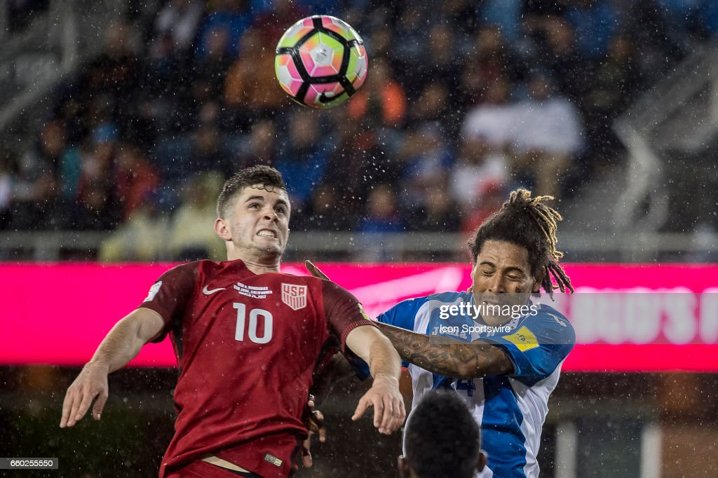 United States midfielder Christian Pulisic #10 battles with Honduras defender Henry Figueroa #4 for a header during their FIFA 2018 World Cup Qualifier between USA and Honduras at Avaya Stadium on March 24, 2017 in San Jose, California.
