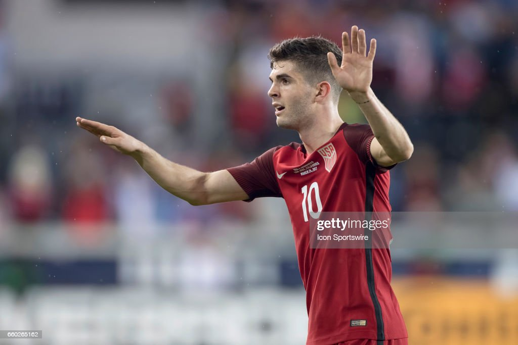 United States midfielder Christian Pulisic #10 looks on during their FIFA 2018 World Cup Qualifier between USA and Honduras at Avaya Stadium on March 24, 2017 in San Jose, California.