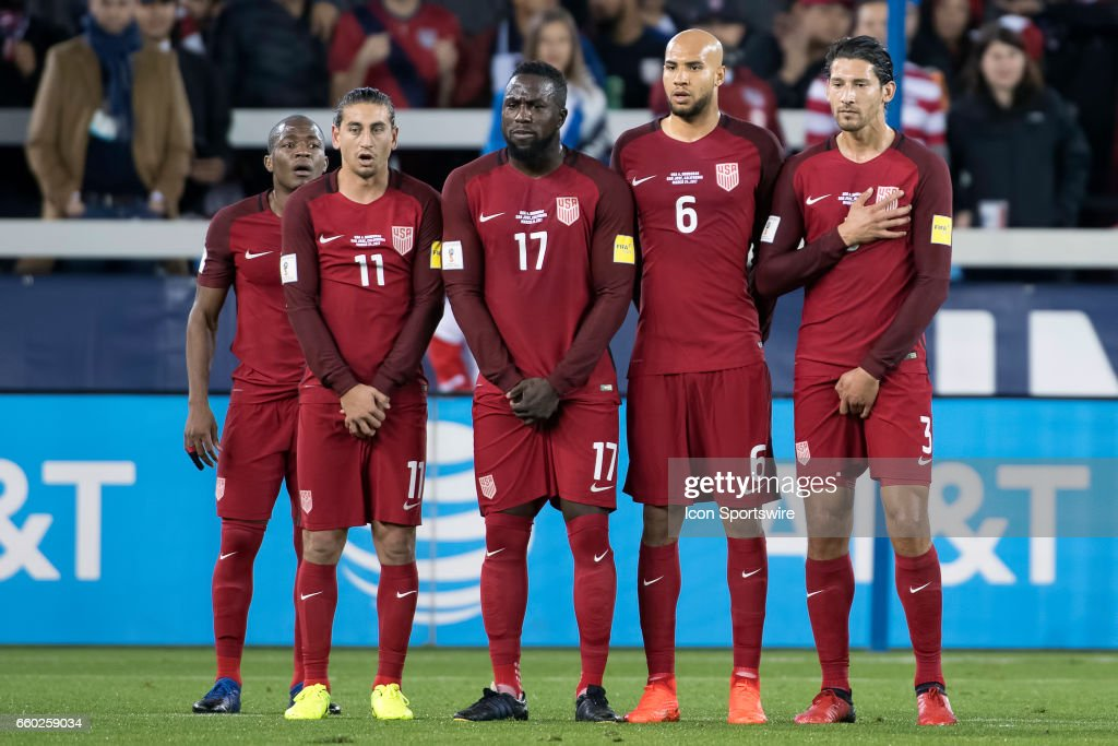 United States midfielder Darlington Nagbe #15, United States midfielder Alejandro Bedoya #11, United States forward Jozy Altidore #17, United States defender John Brooks #6 and United States defender Omar Gonzalez #3 form a wall to block a free kick during their FIFA 2018 World Cup Qualifier between USA and Honduras at Avaya Stadium on March 24, 2017 in San Jose, California.