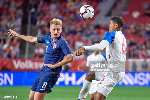 United States midfielder Djordje Mihailovic battles with Panama midfielder Ernesto Walker in game action during an international friendly match...