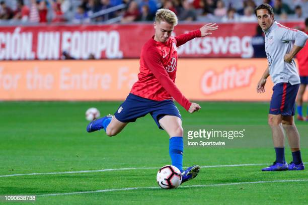 United States midfielder Djordje Mihailovic kicks the ball before the international friendly soccer game between Panama and the United States on...