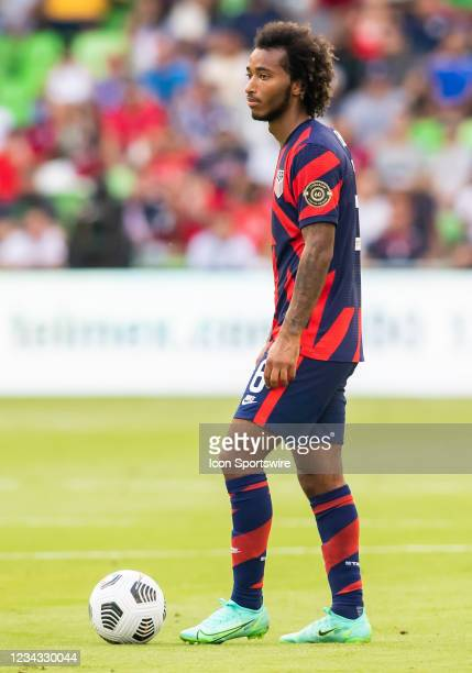 United States midfielder Gianluca Busio prepares for a free kick during the Gold Cup semifinal match between the United States and Qatar on Thursday...