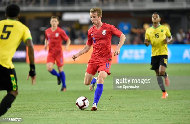 United States midfielder Jackson Yueill makes a pass during the United States Mens National Team international friendly soccer match with Jamaica...