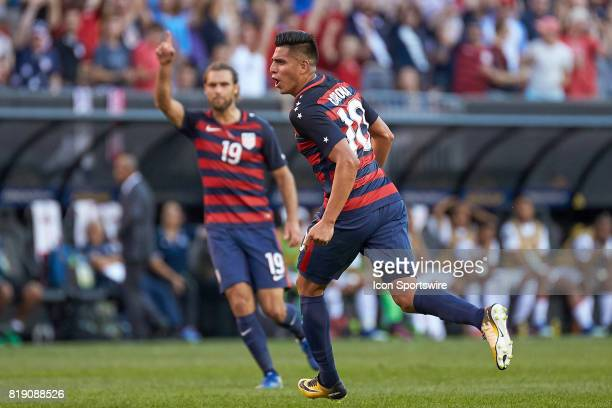 United States midfielder Joe Corona celebrates after scoring a goal during a CONCACAF Gold Cup Group B match between the United States v Nicaragua at...
