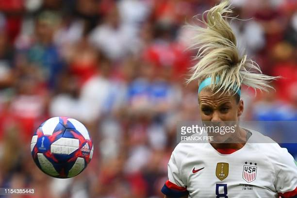 TOPSHOT United States' midfielder Julie Ertz plays the ball during the France 2019 Womens World Cup football final match between USA and the...