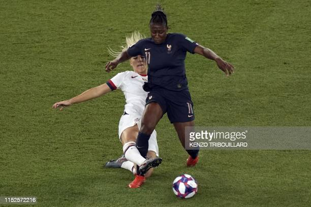 TOPSHOT United States' midfielder Julie Ertz vies with France's forward Kadidiatou Diani during the France 2019 Women's World Cup quarterfinal...