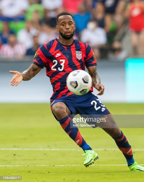 United States midfielder Kellyn Acosta positions himself ahead of the ball during the Gold Cup semifinal match between the United States and Qatar on...