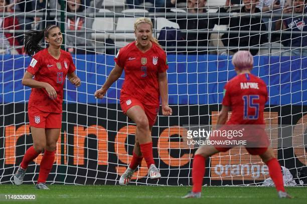 United States' midfielder Lindsey Horan celebrates after scoring a goal during the France 2019 Women's World Cup Group F football match between USA...