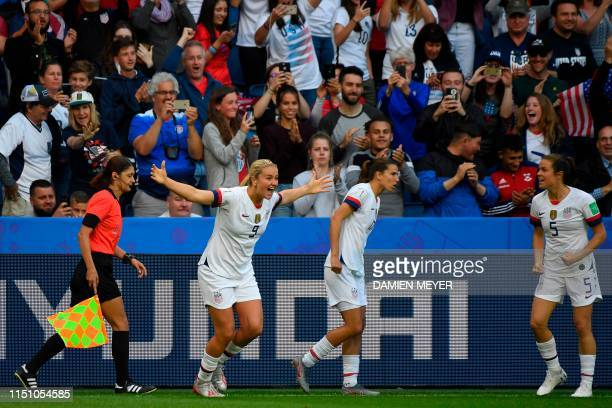 United States' midfielder Lindsey Horan celebrates after scoring a goal during the France 2019 Women's World Cup Group F football match between...