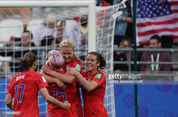 United States' midfielder Lindsey Horan celebrates with teammates after scoring a goal during the France 2019 Women's World Cup Group F football...