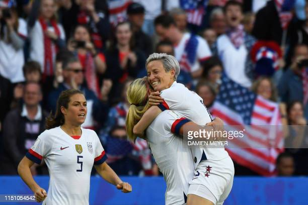 United States' midfielder Lindsey Horan celebrates with United States' forward Megan Rapinoe after scoring a goal during the France 2019 Women's...