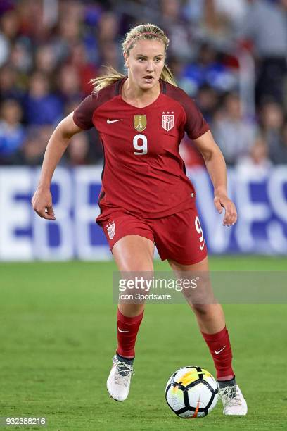 United States midfielder Lindsey Horan dribbles the ball during the SheBelieves Cup match between USA and England on March 07 at Orlando City Stadium...