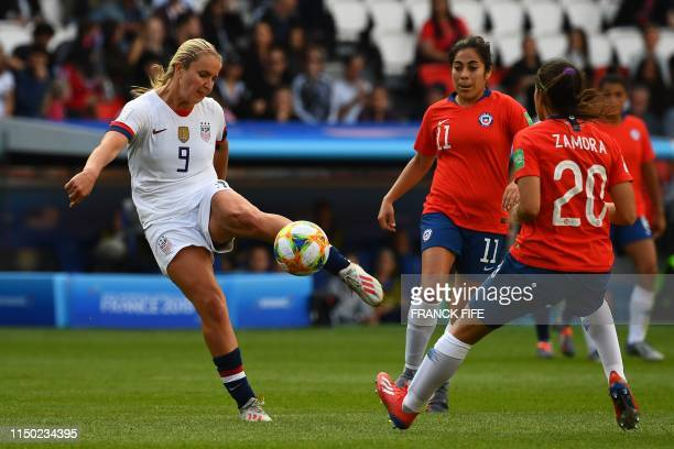 United States' midfielder Lindsey Horan during the France 2019 Women's World Cup Group F football match between USA and Chile on June 16 at the Parc...