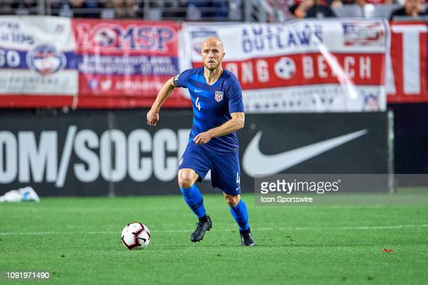 United States midfielder Michael Bradley dribbles the ball in game action during an international friendly match between the United States Men's...