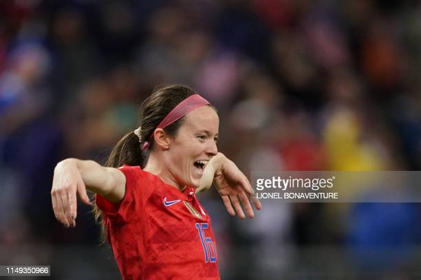 United States' midfielder Rose Lavelle celebrates after scoring a goal during the France 2019 Women's World Cup Group F football match between USA...