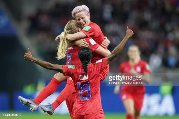 United States' midfielder Sam Mewis celebrate with United States' forward Megan Rapinoe after scoring a goal during the France 2019 Women's World Cup...