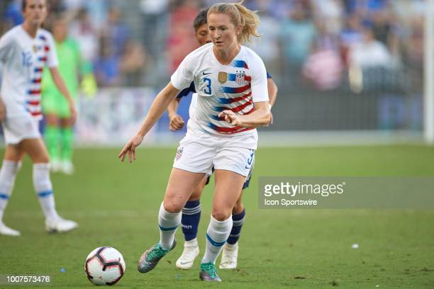 United States midfielder Samantha Mewis battles for the ball in game action during a Tournament of Nations match between the United States and Japan...