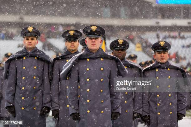 United States Military Academy cadets during the March On before the game between the Army Black Knights and Navy Midshipmen at Lincoln Financial...
