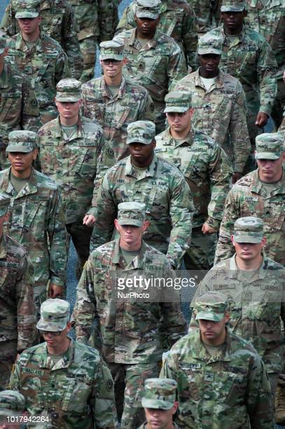 United States military are seen taking part in the Armed Forces Day parade in Warsaw Poland on August 15 2018