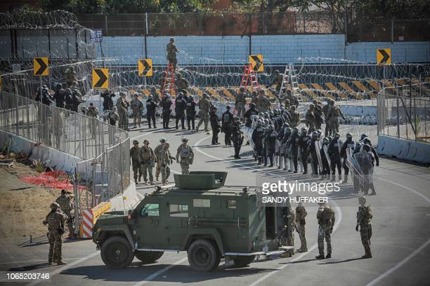 United States Military personel and Border Patrol agents secure the United StatesMexico border on November 25 2018 at the San Ysidro border crossing...