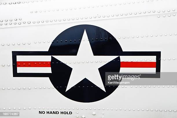 united states military star and stripes aircraft crest. - insignia stock pictures, royalty-free photos & images