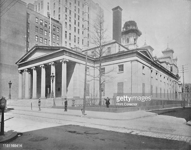 United States Mint Philadelphia' circa 1897 The second Philadelphia Mint building designed by William Strickland in white marble with classic...