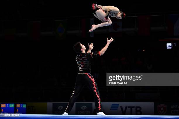 United States mixed pair Aisley Boynton and Sean Obley perform on the first day of the 26th edition of the World Championships Acrobatic Gymnastics...