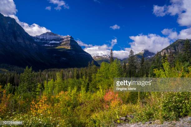 united states, montana, glacier national park, to upper saint mary lake - mary lake stock photos and pictures