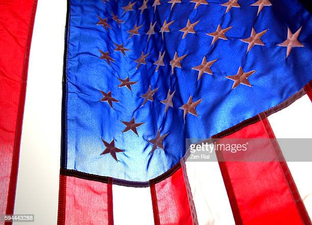 United States National flag backlit and close up