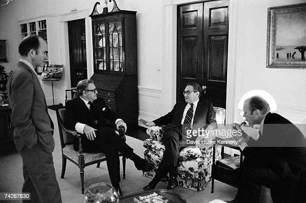 United States National Secuity Council Deputy Advisor, Brent Scowcroft, Vice President Nelson A. Rockefeller, Secretary Of State Henry Kissinger and...
