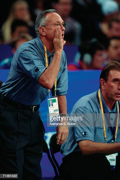 United States National Team head coach Larry Brown shouts instructions from the sidelines during the 2000 Summer Olympics in Sydney Australia NOTE TO...