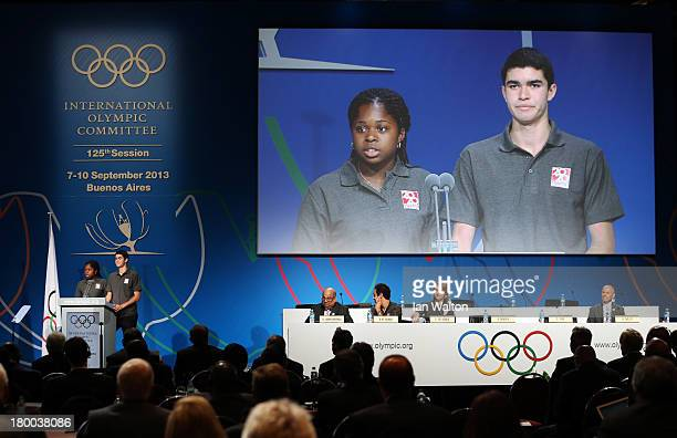 United States National Under 19 Urban Champion Andreina Benedith and Pan American Junior Champion Diego Elias speak during a World Squash Federation...
