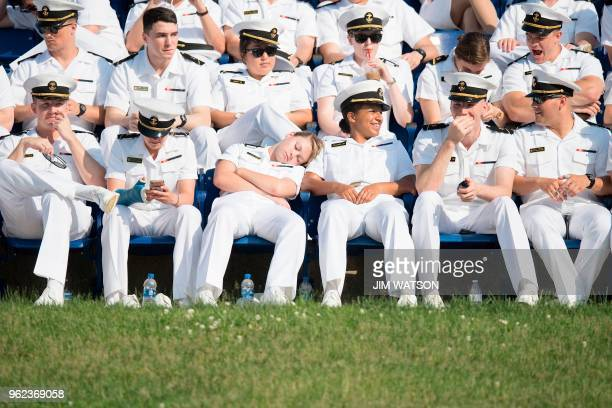 United States Naval Academy midshipmen await the graduation ceremony in Annapolis Maryland on May 25 2018