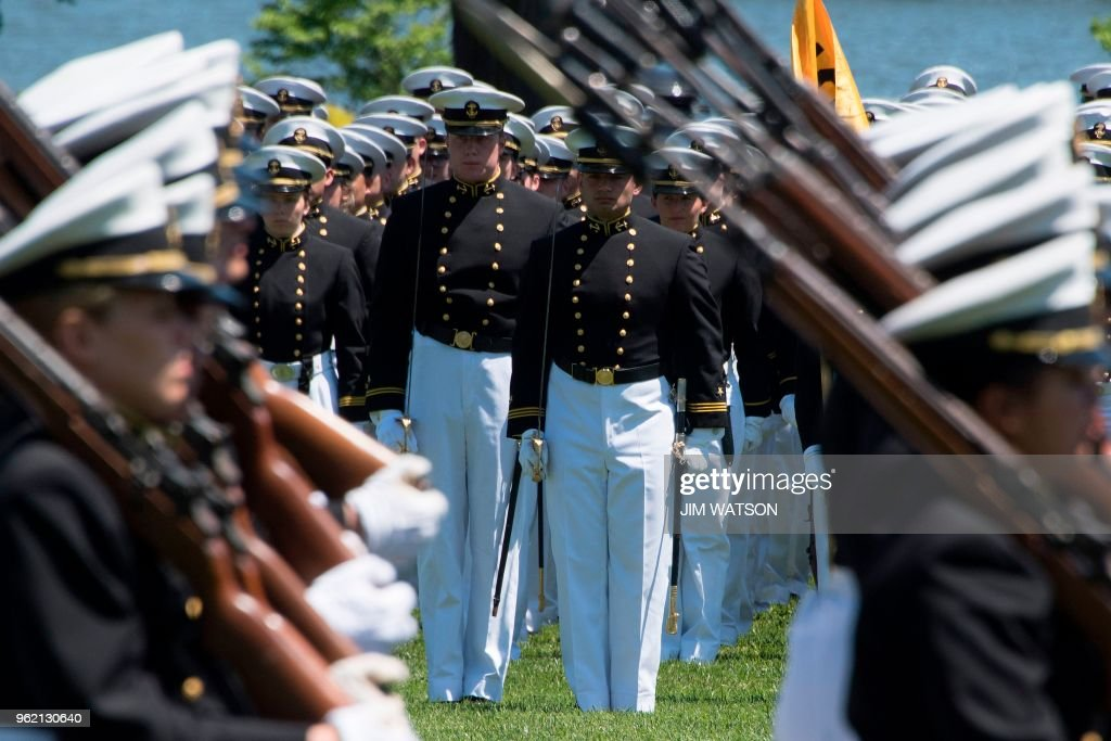 United States Naval Academy midshipmen march during the