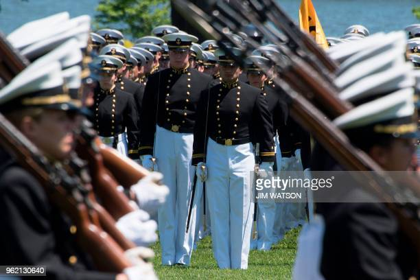 United States Naval Academy midshipmen march during the Color Parade in Annapolis Maryland on May 24 ahead of the USNA graduation ceremony