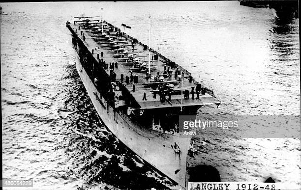United States Navy Battleship Carrier USS Langley at sea date not given