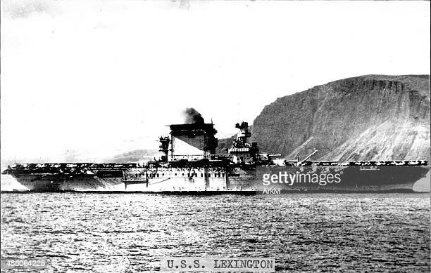 United States Navy Battleship Carrier USS Lexington at sea date not given
