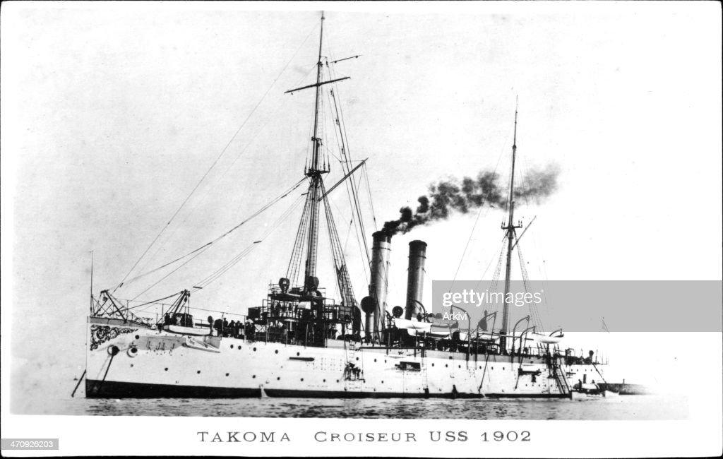 United States Navy Battleship Cruiser USS Tacoma at sea, ca