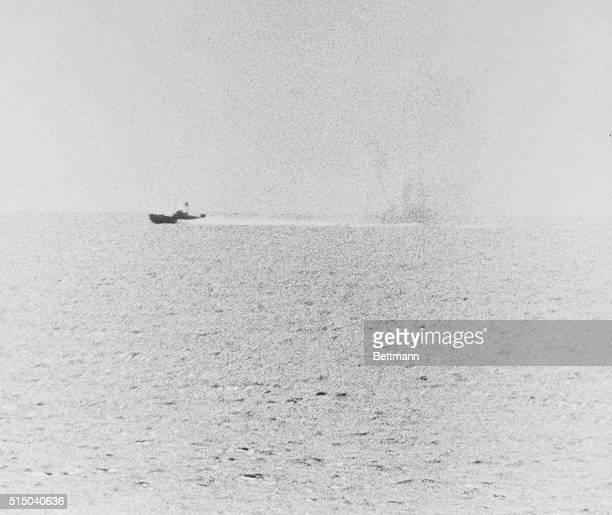 United States Navy destroyer USS Maddox during an attack by 3 North Vietnamese torpedo boats in the Gulf of Tonkin South China Sea during the Vietnam...