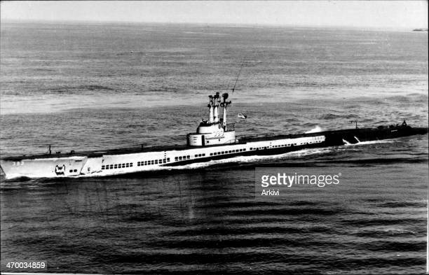 United States Navy Submarine USS Queen Fish SS 393 at sea ca 1944