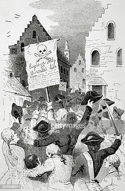 United States New York 18th century Protests by the Stamp Act 1765 ordered by the Parliament of Great Britain that imposed a direct tax on the...