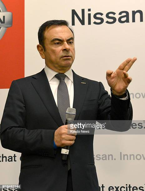 NEW YORK United States Nissan Motor Co CEO Carlos Ghosn holds a press conference at the annual New York International Auto Show that opened March 27...