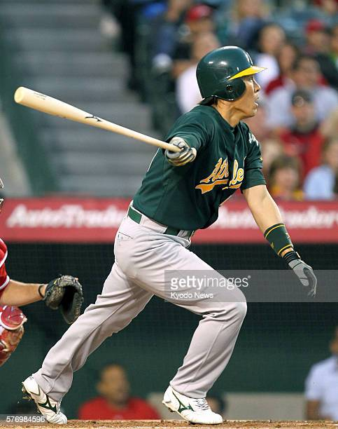 ANAHEIM United States Oakland Athletics designated hitter Hideki Matsui doubles to left in the second inning of a game against his old team the Los...