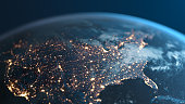 United States Of America At Night - Planet Earth Seen From Space