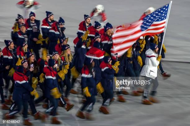 United states of America at opening ceremony at 2018 Pyeongchang winter olympics at Pyeongchang olympic stadium Pyeongchang South Korea February 09...