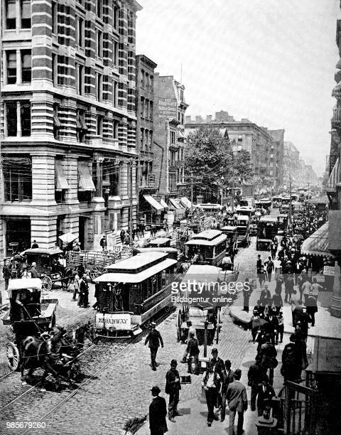 United States of America Broadway in New York street scene in the busy street digital improved reproduction of an original print from the 19th century