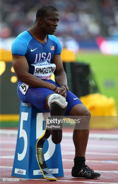 United States of America Chris Singleton first leg runner compete Men's 4 x 100m Relay T4247 during World Para Athletics Championships at London...