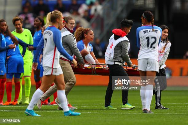 United States of America defender Casey Short leaves the field injured during the second half the SheBelieves Cup Womens Soccer game between the...