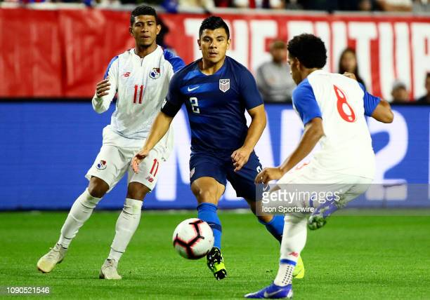 United States of America defender Nick Lima passes the ball through traffic during the international friendly between the United States Men's...