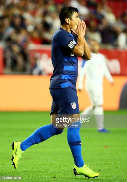 United States of America defender Nick Lima reacts to missing a shot during the international friendly between the United States Men's National Team...